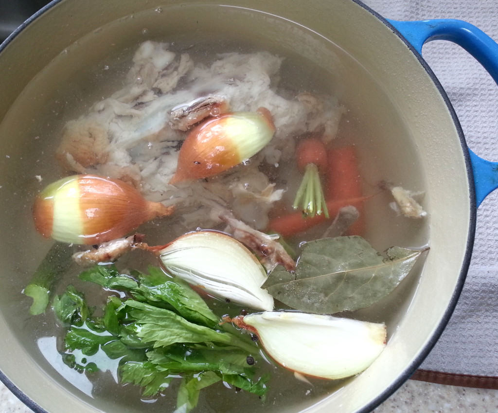 Cover the chicken and veggies with cold water.