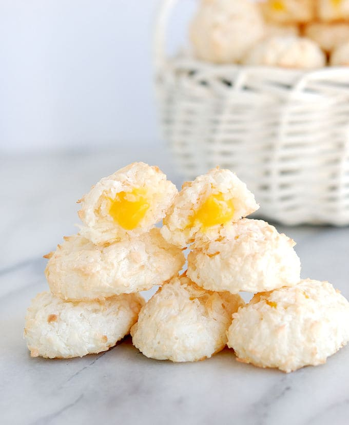 a stack of coconut macaroon easter egg cookies