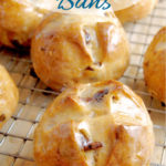 a pinterest image for hot cross buns with text overlay