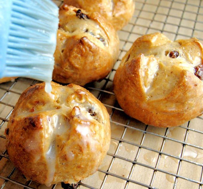 hot cross buns brushed with sugar glaze