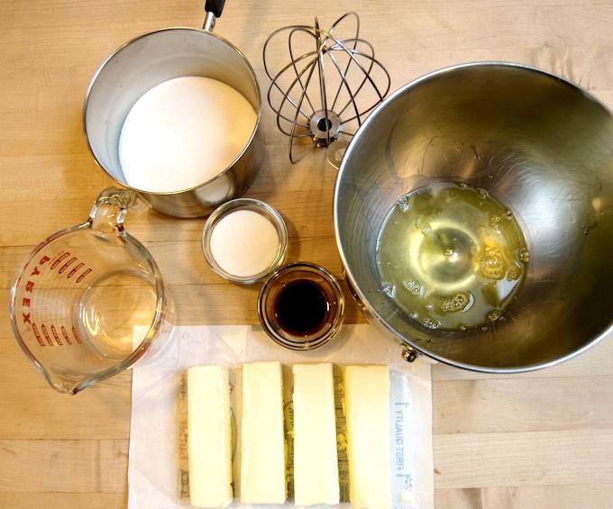 Ingredients for Italian Meringue Buttercream