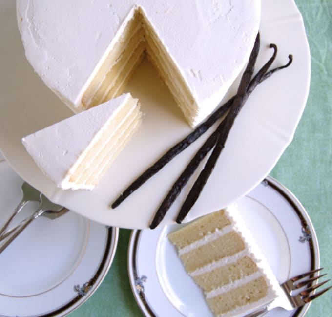 a top view photo of a vanilla layer cake