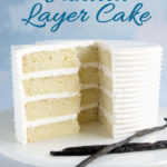 a pinterest image for a 4 layer vanilla cake with text overlay