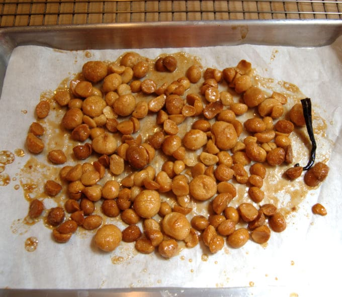 Bake the macadamias until they are caramelized and crunchy. Store in an air tight container.