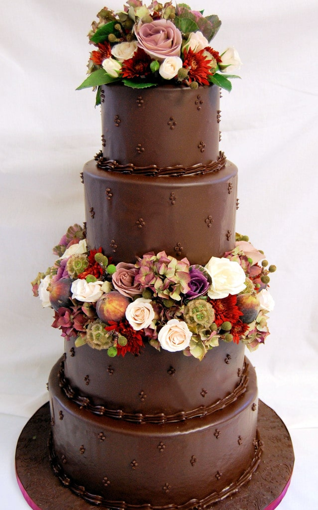 Ganache makes a striking finish for any cake, even a wedding cake.