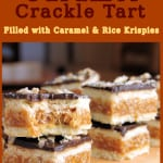 a pinterest image for chocolate caramel rice krispie tart with text