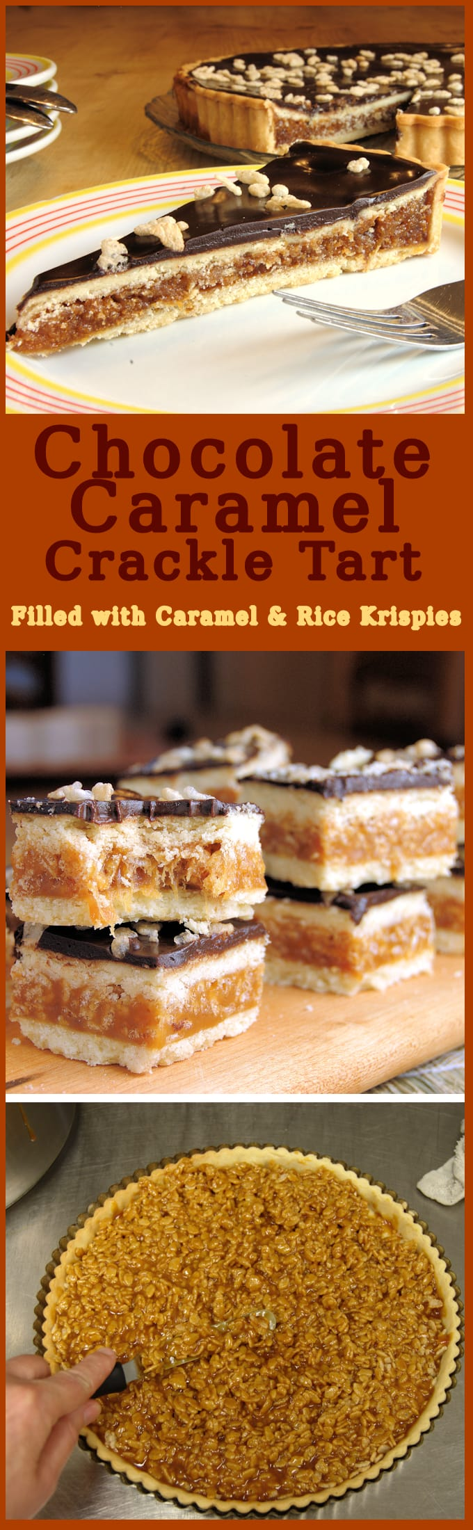 If you love Twix Bars you'll love chocolate caramel crackle tart. Buttery pastry filled with caramel & Rice Krispies & topped with chocolate ganache