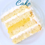 a pinterest image for coconut passion fruit cake with text overlay