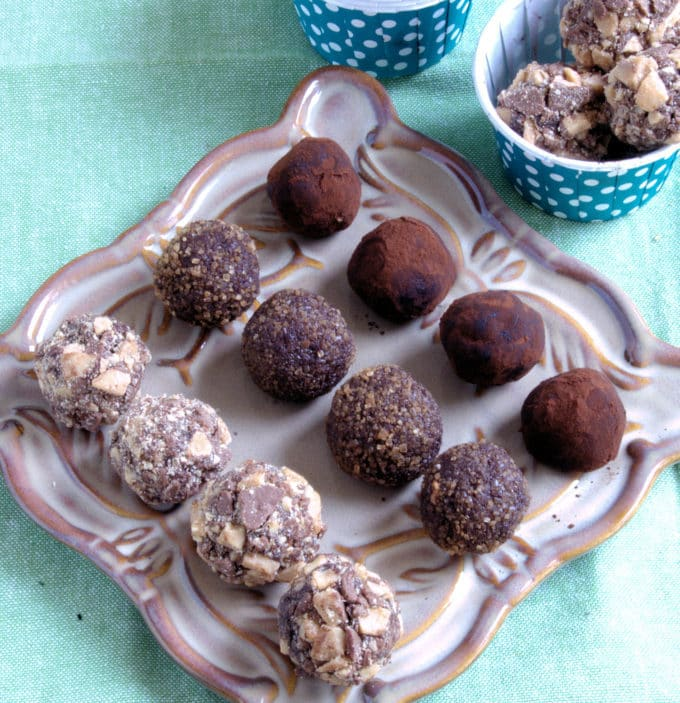 Dark chocolate ganache makes luscious chocolate truffles.