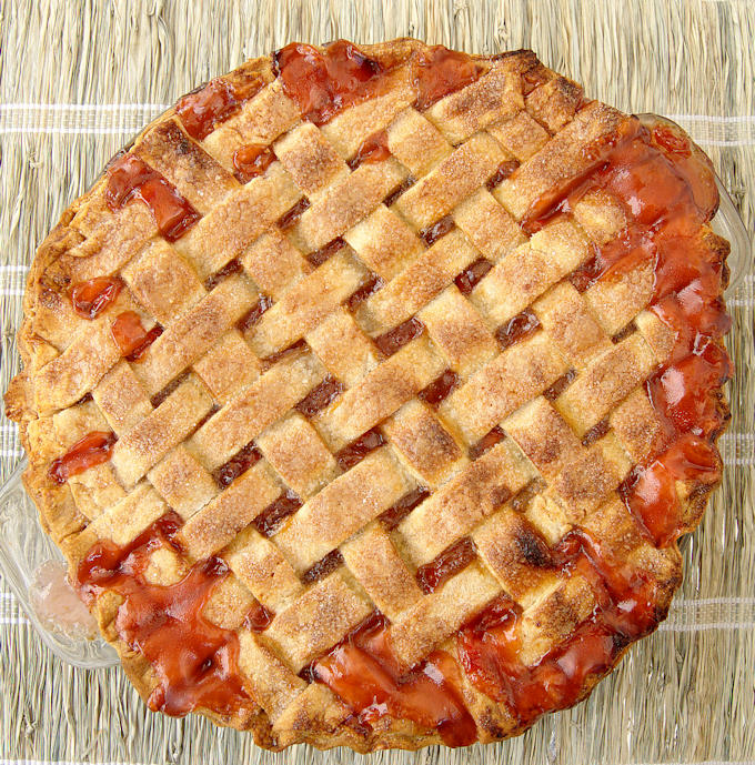 a lattice top sour cherry pie