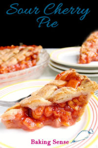 an image of a slice of sour cherry pie with text overlay