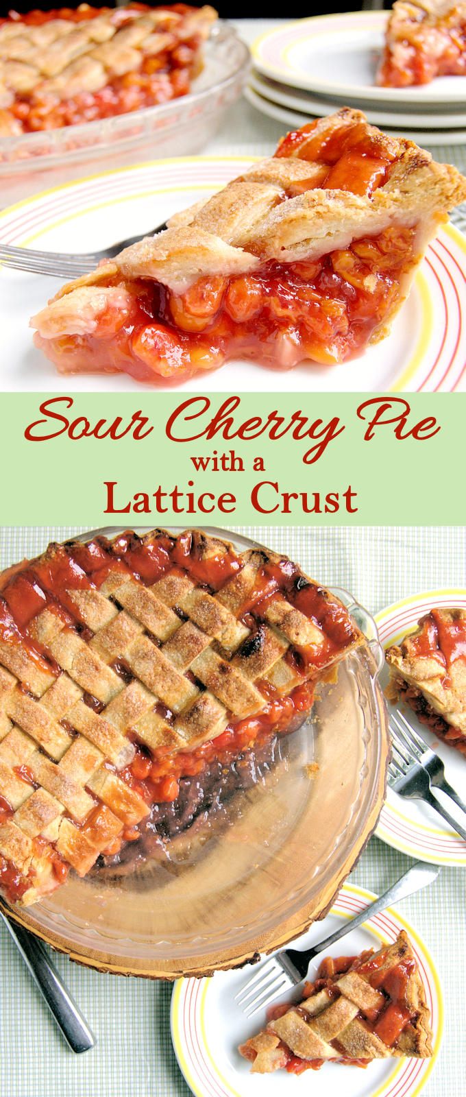 The perfect all American sour cherry pie! With video - how to create a lattice crust.