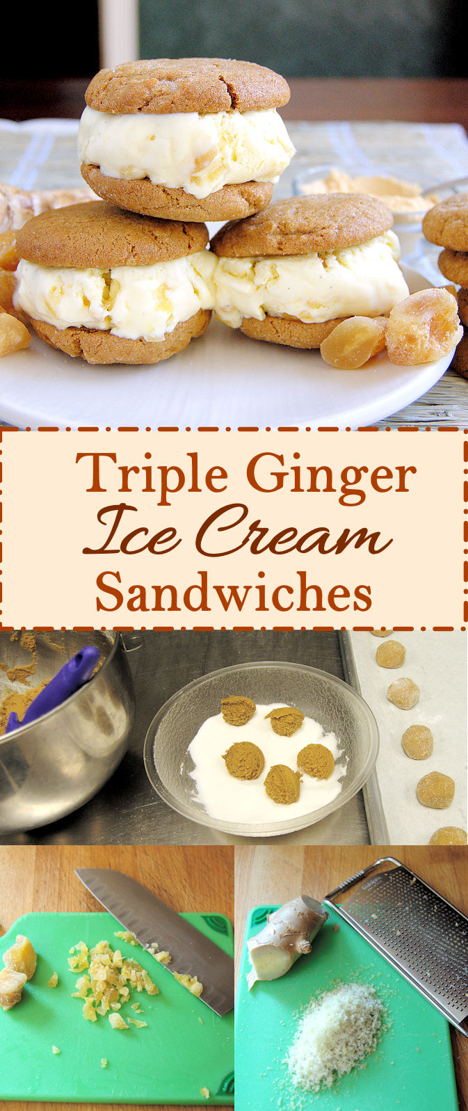 Homemade ginger ice cream sandwiched between ginger cookies. Super easy to make ahead. Create your own ice cream sandwich bar at your next party.