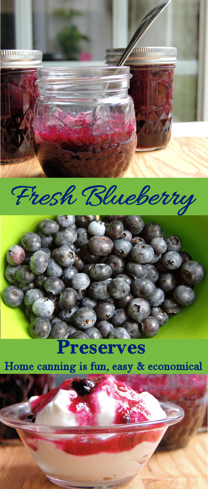 Make blueberry preserves in the summer while the berries are cheap and abundant. Enjoy the preserves all year.