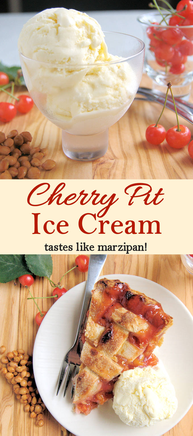 Save those cherry pits to make a special ice cream that tastes like maripzan! See step by step photos.