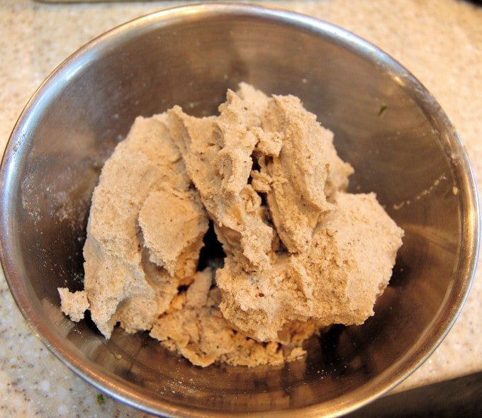 Gather the crumb topping into large chunks and set aside while you mix the batter