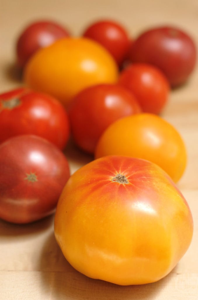 assorted heirloom tomatoes on a table