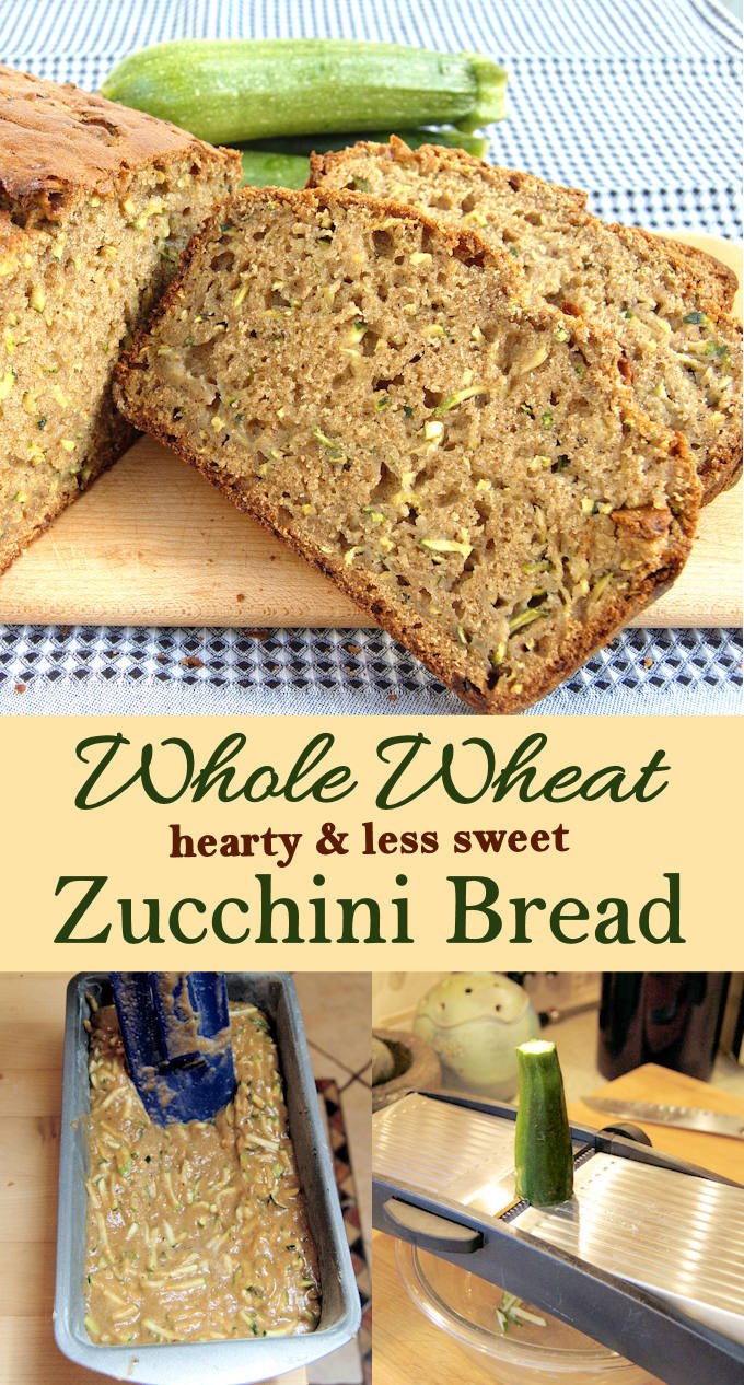 Whole Wheat Zucchini bread is less sweet and more hearty. Less like a cake than a bread. Great for breakfast or with a salad for lunch or dinner.