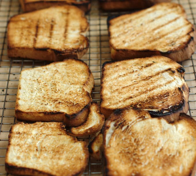 grilled bread for panzanella