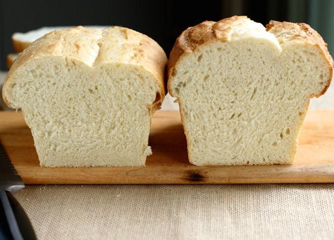 two loaves of white sandwich bread