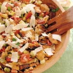 a salad bowl with grilled panzanella