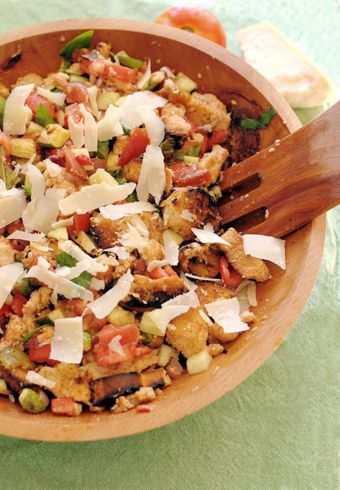 a bowl of grilled panzanella