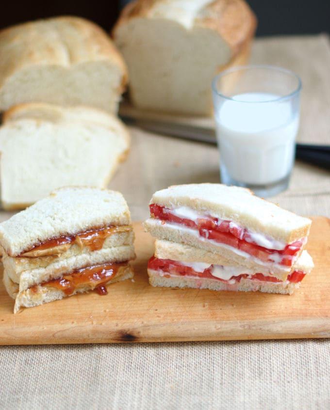pb&j sandwich and tomato sandwich