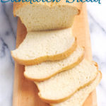 a sliced loaf of white bread, The image has text overlay for pinterest