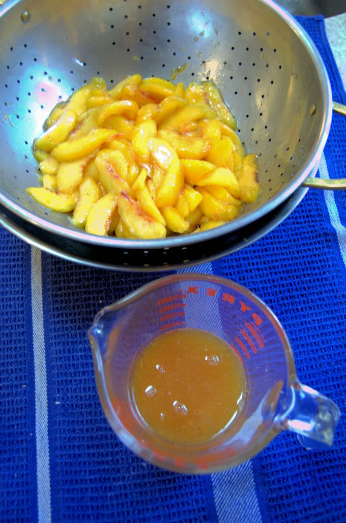 drained peaches for pie filling