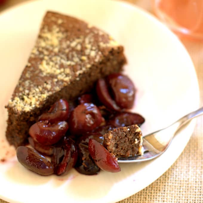flourless chocolate cake with roasted cherrie