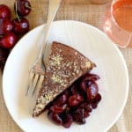flourless chocolate cake with roasted cherries