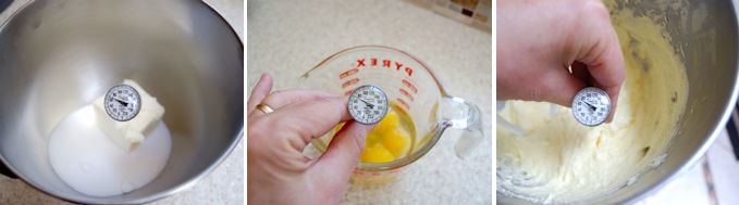 Step by step photos showing how to monitor to the temperature of ingredients for cake batter.