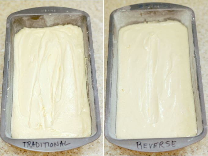 Two unbaked pound cakes in the pans, side by side. One is marked traditional and the other is marked reverse