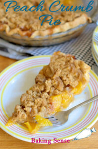 a pinterest image for peach crumb pie