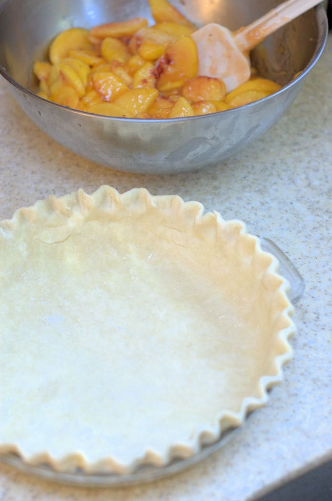 peach pie filling and a pie shell