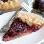 a pinterest image for plum galette