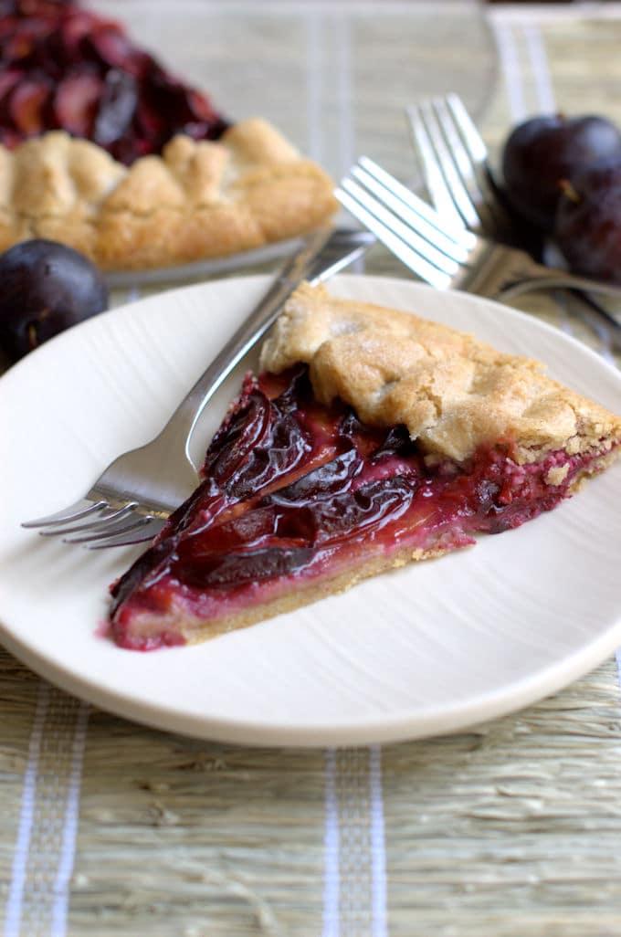 rustic plum tart with a walnut crust