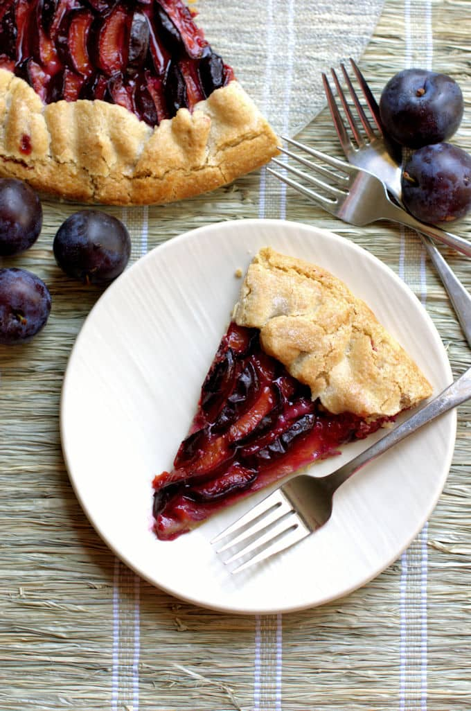 rustic plum tart with a walnut crust