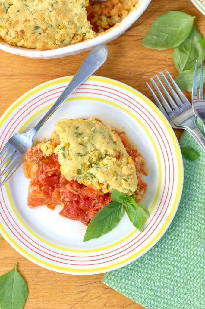 tomato and corn cobbler