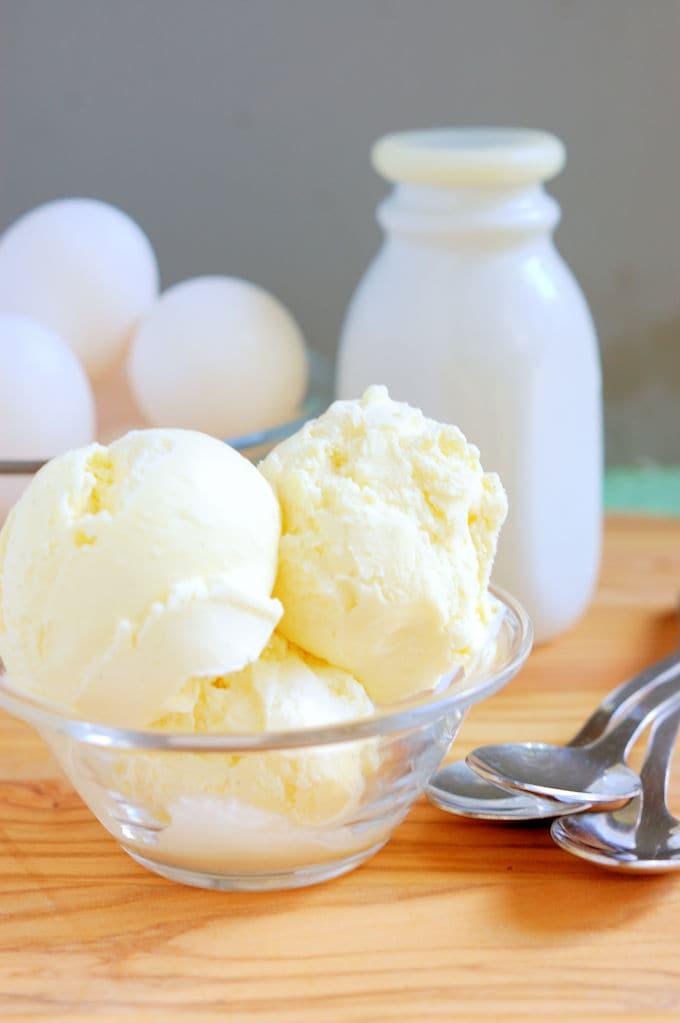 a bowl of buttermilk ice cream