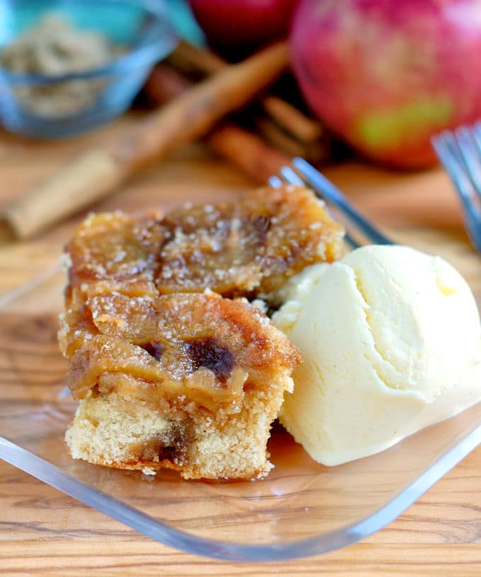 buttermilk ice cream with apple upside down cake