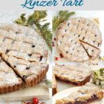 a pinterest image for cranberry linzer tart
