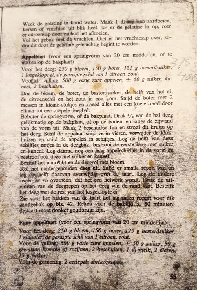 original appeltaart recipe from Dutch cookbook