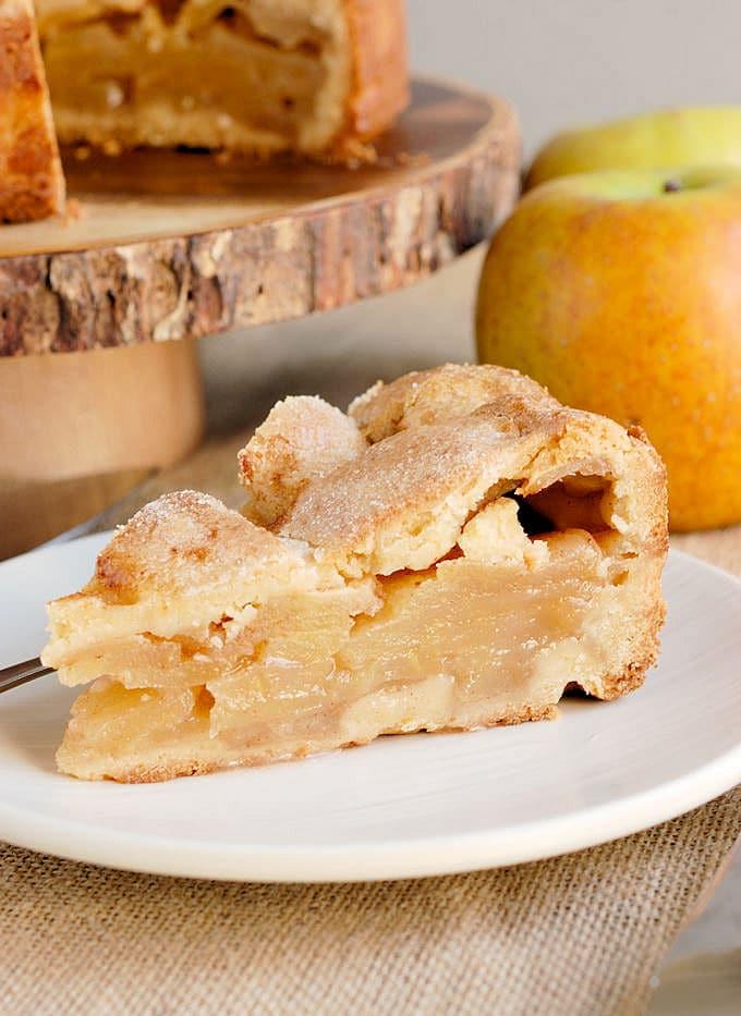 a slice of juicy dutch apple tart