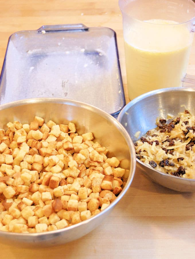 bread pudding prep