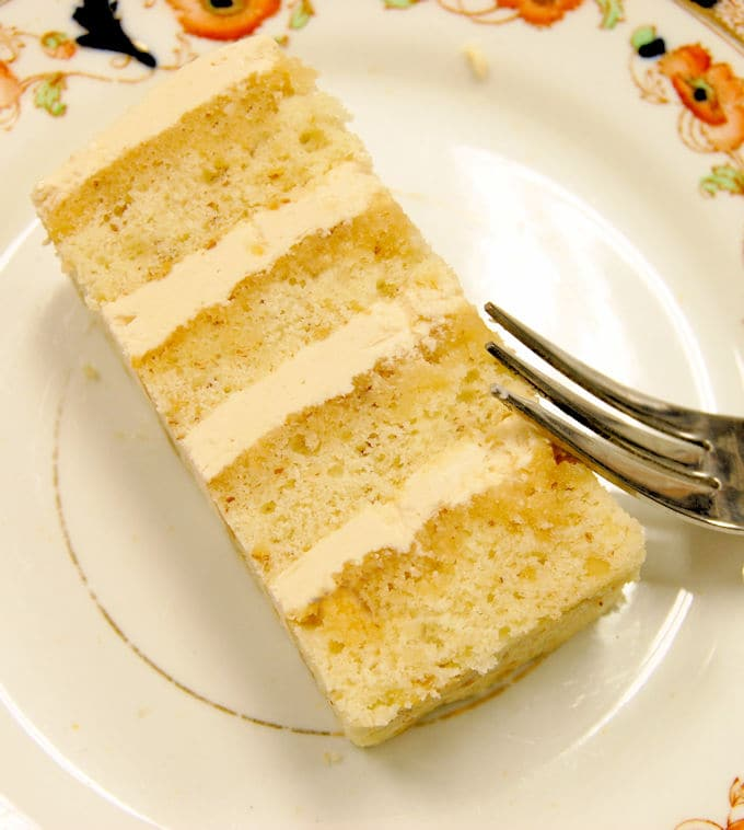 a slice of cajeta cake on a plate