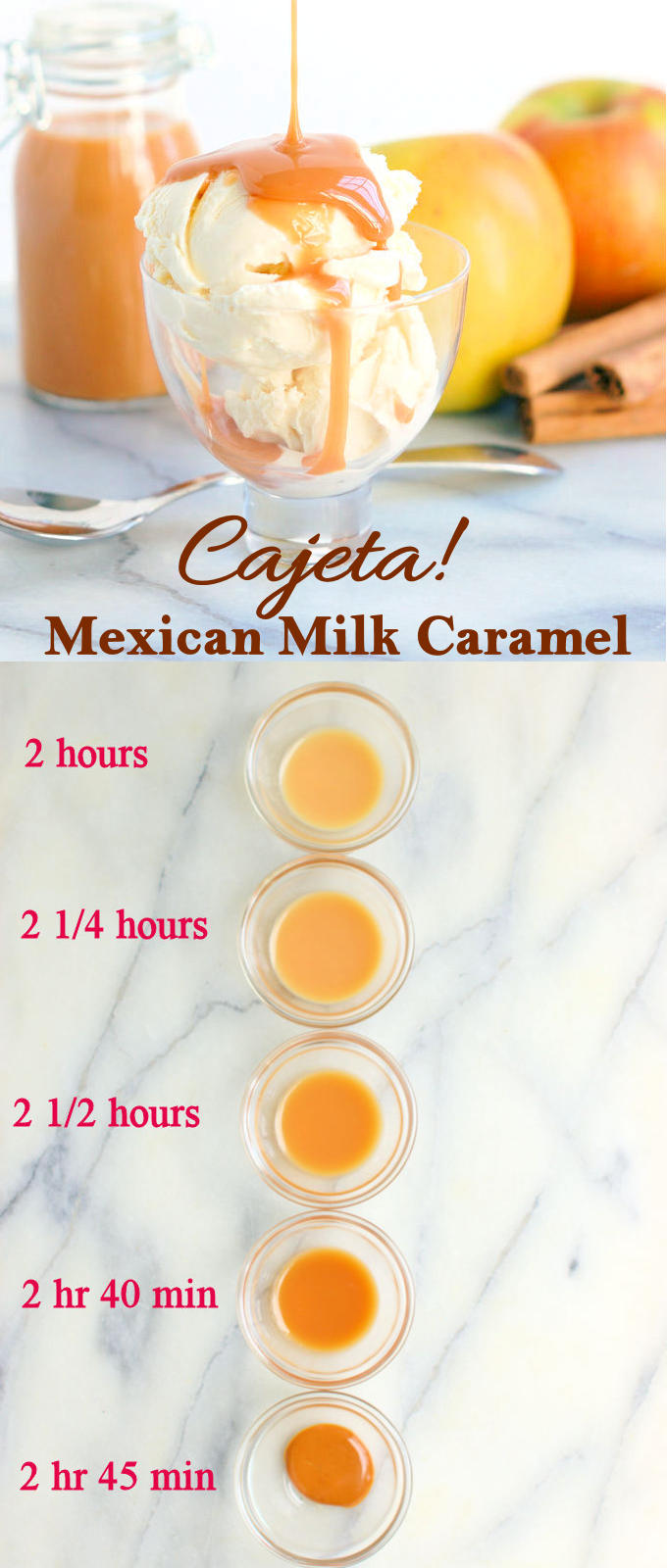 Cajeta can be made with goat's milk, cow's milk or a mixture of both. Cook longer for more candy-like texture.