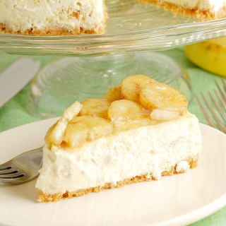 Banana Cheesecake with Rum-Roasted Bananas