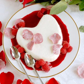 coeur la creme with raspberry rose sauce and candied rose petals