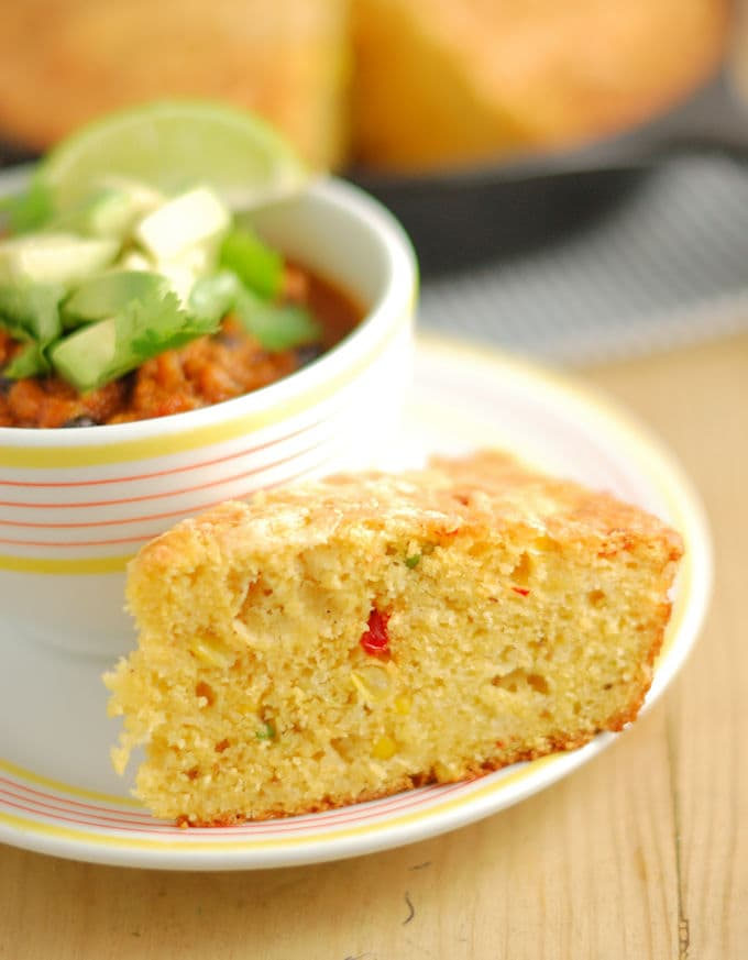 Skillet Cornbread with Jalapenos and Cheddar